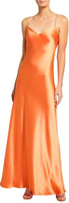 Galvan Satin V-Neck Slip Maxi Dress