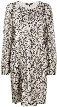 Luisa Cerano Abstract Leaf Print Midi Dress