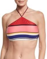 Kate Spade Striped High-Neck Bikini Top, Pink