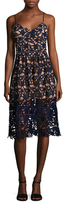 Embroidered Lace Cocktail Midi Dress