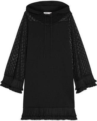 McQ Lace-paneled French Cotton-terry Hooded Dress