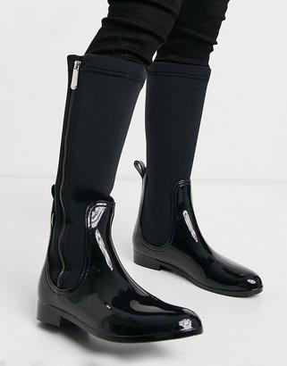 Xti side zip flat knee boots in black
