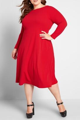 ModCloth Sweet Simplicity Long Sleeve Midi Dress