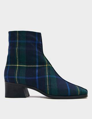 Suzanne Rae Wool Plaid Welt Sole Boot