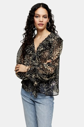 Topshop Womens Leopard Print Ruffle Chuck On Blouse - Natural