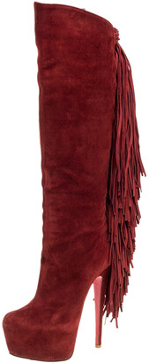 Christian Louboutin Red Suede Interlopa Fringe Detail Knee Length Platform Boots Size 36.5