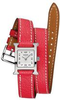 Hermes Heure H Watch on a Double Tour Bougainvillier Mysore Goat Strap
