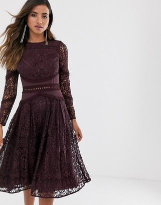 Asos Design DESIGN long sleeve prom dress in lace with circle trim details-Purple
