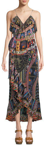 Camilla V-Neck Sleeveless Long Printed Wrap Dress w/ Frills