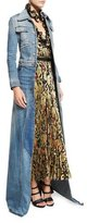 Roberto Cavalli Long-Sleeve Maxi Jean Jacket, Denim