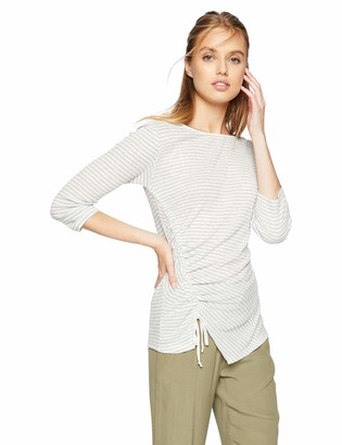 William Rast Women's Noa Drawstring Ruching Detail Knit Long Sleeve Top