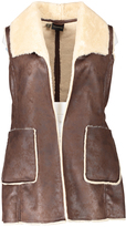 Weatherproof Brown Faux Shearling Three-Quarter Length Vest - Plus