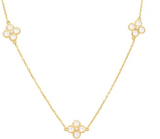Latelita Long Chain Flower Clover White Quartz Necklace Gold