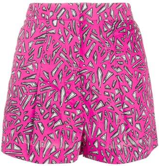 Markus Lupfer Geometric Print Cotton Shorts