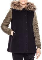 Sandro Moh Fur-Trimmed Coat