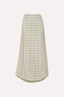 The Row Tulu Pleated Printed Silk-crepe Maxi Skirt - Ecru