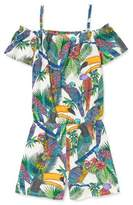 The Children's Place Girls' Cold-Shoulder Toucan Print Jersey Romper