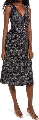 Rowa Print Double Breasted Sleeveless Midi Dress