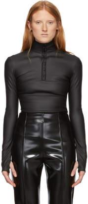 Kwaidan Editions Black Coated Stretch Light Zipper Sweatshirt