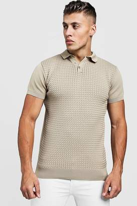 boohoo Muscle Fit Cable Knit Polo
