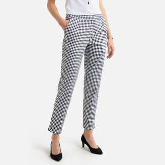 """Anne Weyburn Cotton Peg Trousers in Gingham Print, Length 26.5"""""""