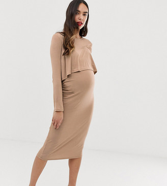 Bluebelle Maternity midi 2 in 1 dress in taupe