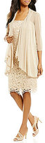 R & M Richards Metallic Embroidered Lace Jacket Dress