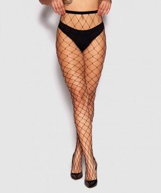 Bras N Things Wide Fishnet Stockings - Black