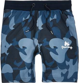 River Island Boys Navy camo jersey shorts