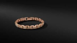 David Yurman Deco Chain Link Bracelet In 18K Rose Gold With Pave