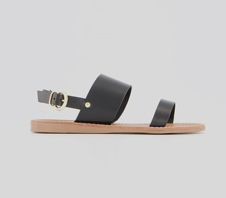 Office Sweets Flat Sandals Black Leather