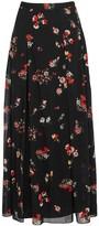 RED Valentino Black Floral-print Silk Blend Maxi Skirt
