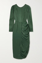 ALEXACHUNG Gathered Satin Midi Dress