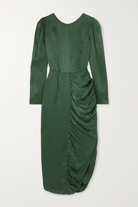 ALEXACHUNG Gathered Satin Midi Dress - Dark green