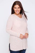 Yours Clothing Pale Pink Wool Blend Ribbed Jumper With Side Slit Detail