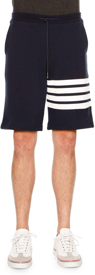 Thom Browne Classic Striped-Leg Sweat Shorts, Navy/White