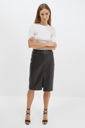 Lilia Leather Pencil Skirt