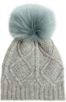 Yves Salomon Enfant Wool & Cashmere Knit Hat W/ Fur Pompom