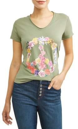 Sofia Jeans By Sofia Vergara Peace Blossom Short Sleeve V-Neck Graphic T-Shirt Women's