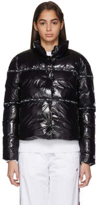 Champion Reverse Weave Black Shiny Puffer Jacket