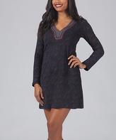 Aller Simplement Gray Contrast-Neckline Shift Dress