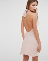 Fashion Union Rib Halter Neck Dress With Tie Up Back