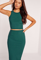 Missguided Ribbed Crop Top Green