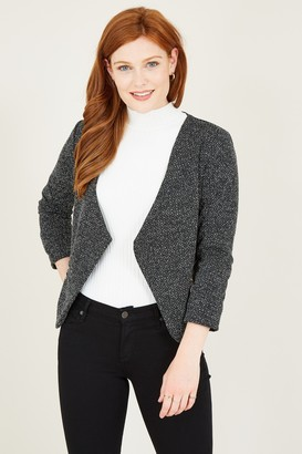 Yumi Grey Cropped Textured Jacket