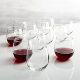 Crate & Barrel Stemless Red Wine Glasses 17 oz., Set of 12