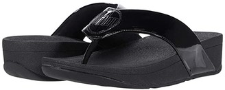 FitFlop Demelza Logo Toe-Post Sandals (All Black) Women's Shoes
