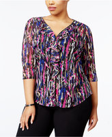 INC International Concepts Plus Size Ruffled Top, Only at Macy's