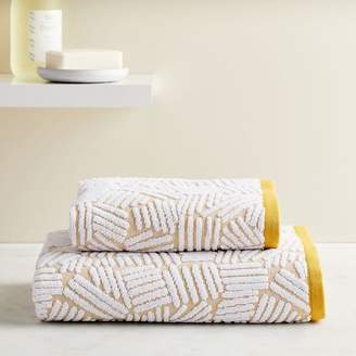 west elm Organic Dashed Lines Sculpted Towels - Dark Horseradish