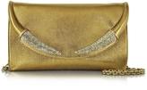Roberto Cavalli Horn Gold Metallic Nappa Clutch