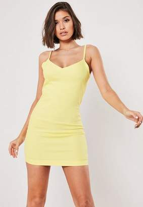Missguided Lemon Denim Cami Bodycon Mini Dress
